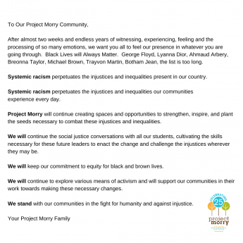 Project Morry Statement on Anti-Racism